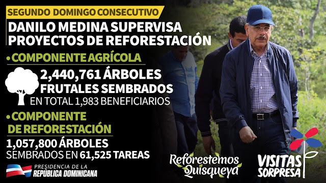 Segundo Domingo consecutivo Danilo supervisa proyectos reforestación. Infografía