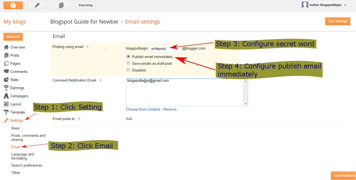 Configure Create a Post Using Email On Blogspot