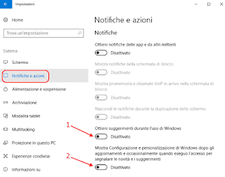 Windows 10 - Notifiche e azioni