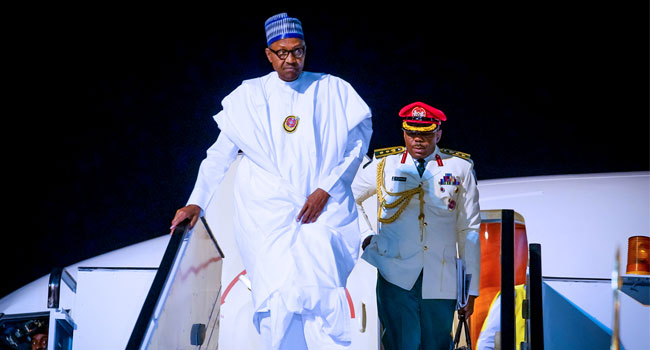 President Muhammadu Buhari Arrives Egypt for ASWAN Forum