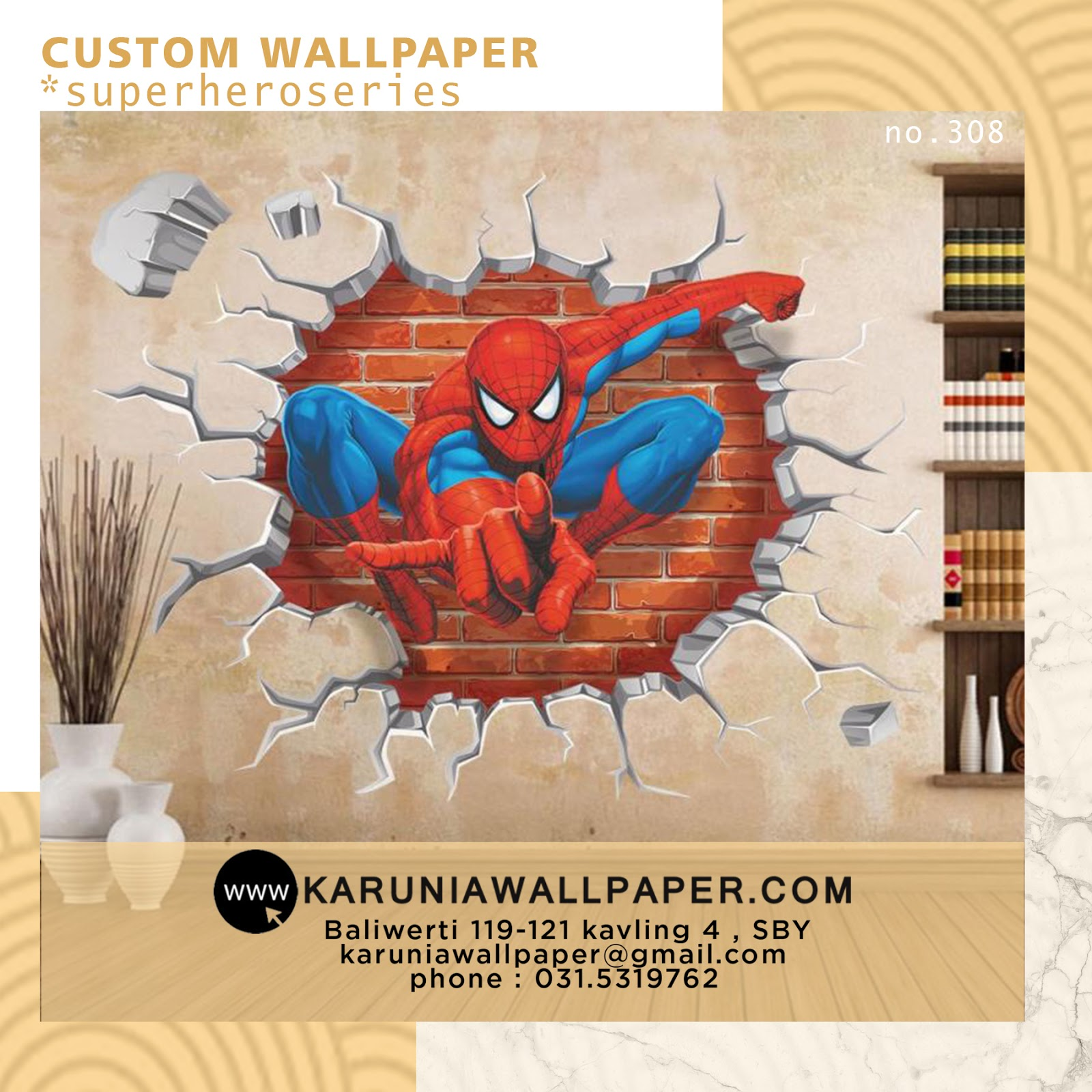 jual wallpaper custom spiderman superhero marvel