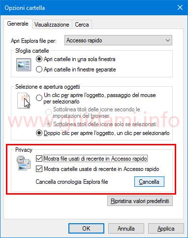 Cancellare e disattivare cronologia file recenti Windows 10