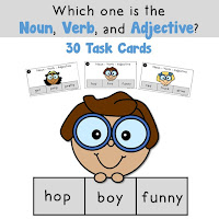 Nouns Verbs and Adjectives Task Cards