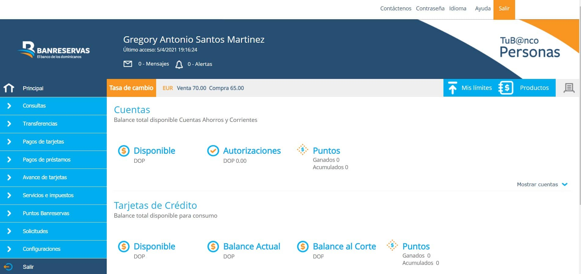 pantalla principal netbanking reservas