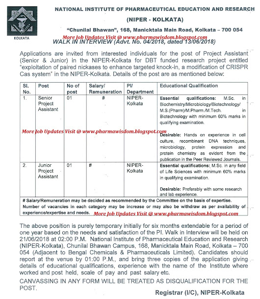 NIPER - Walk-In Interview for for Jr. & Sr. Project Assistant Posts on 21st June, 2018 @ KOLKATA