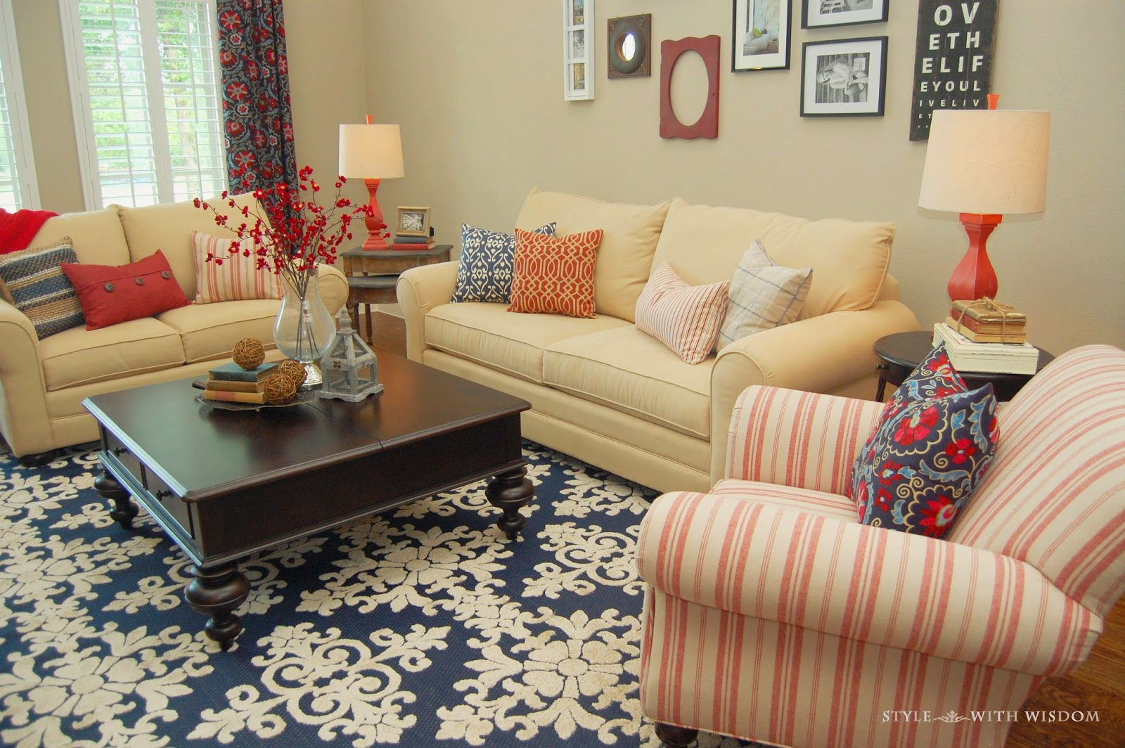 Style with Wisdom: Navy and Red Living Room