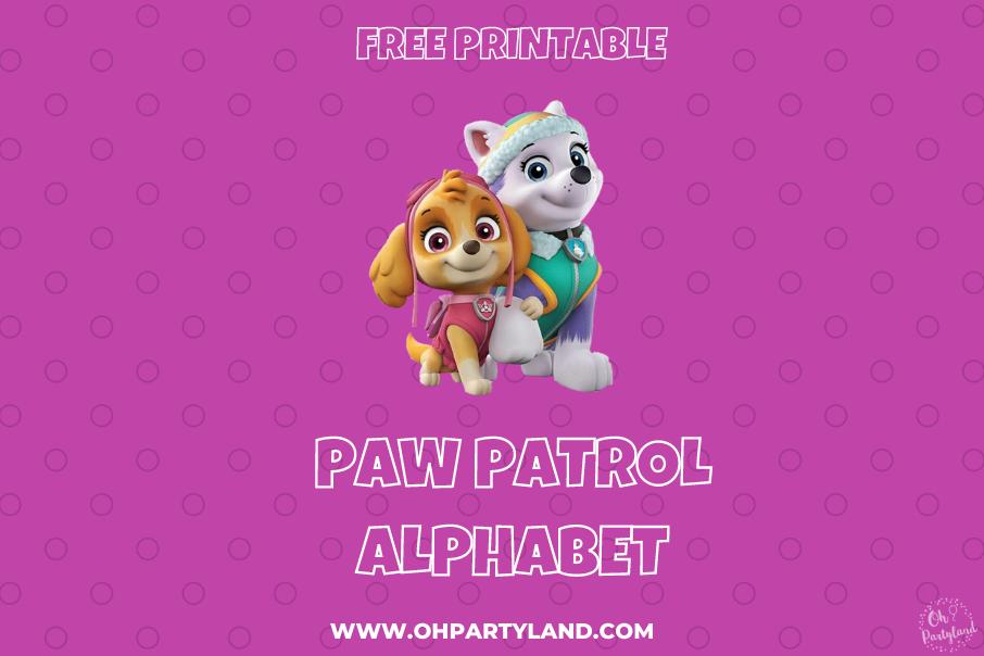 printable paw patrol alphabet skye and everest