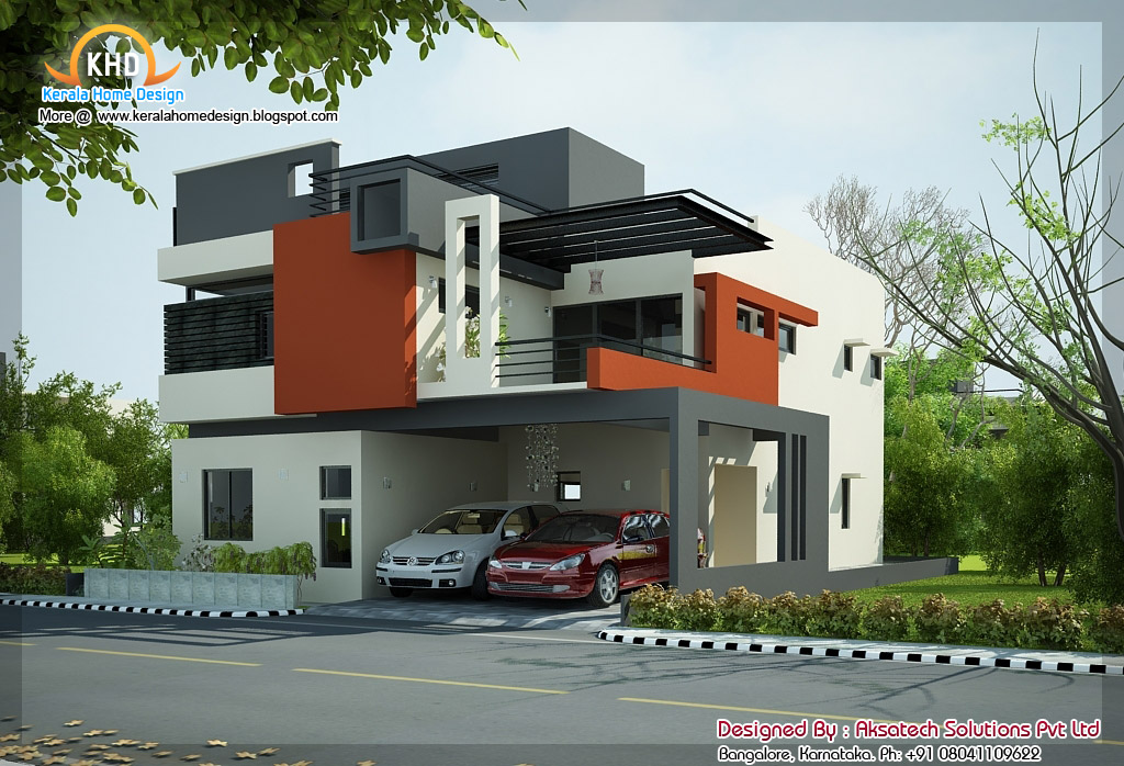 2 beautiful modern contemporary home elevations kerala for Modern house designs 3d