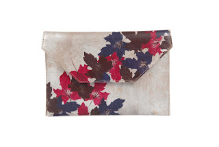 ,Autumn Scattered Leaf Clutch,Gold by Zooki