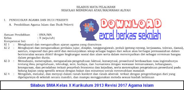 Silabus SMA Kelas X Kurikulum 2013 Revisi 2017 Agama Islam
