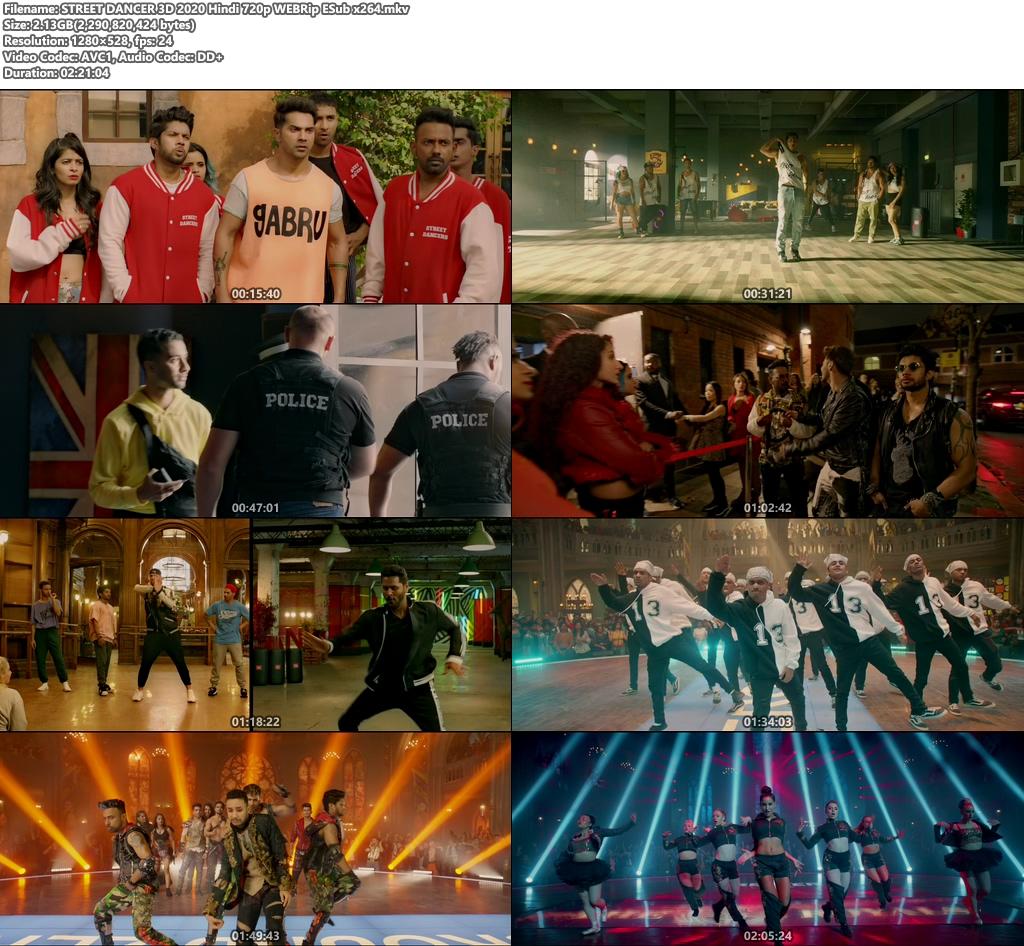 STREET DANCER 3D 2020 Hindi 720p WEBRip ESub x264 | 480p 300MB | 100MB HEVC Screenshot