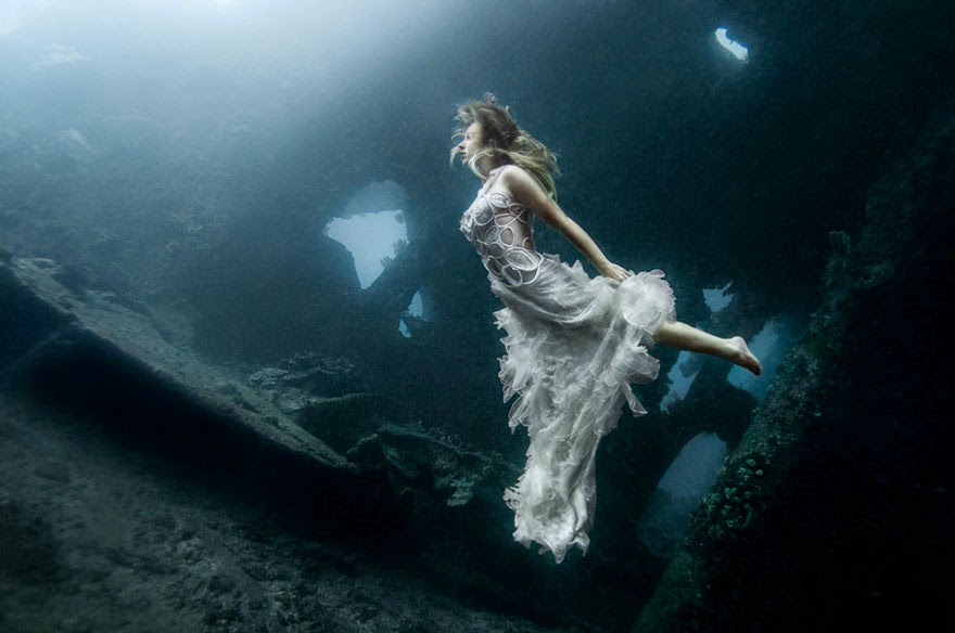 Models Dive 25 Meters To An Underwater Shipwreck In Bali For A Literally Breathtaking Photoshoot