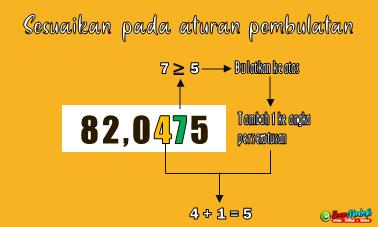 Menyesuaikan pada aturan pembulatan bilangan desimal