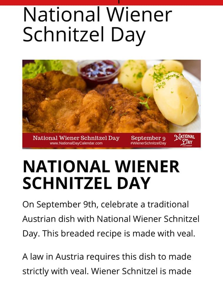National Wiener Schnitzel Day