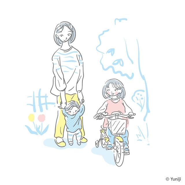 母親と子どもの一場面を切り取ったイラスト