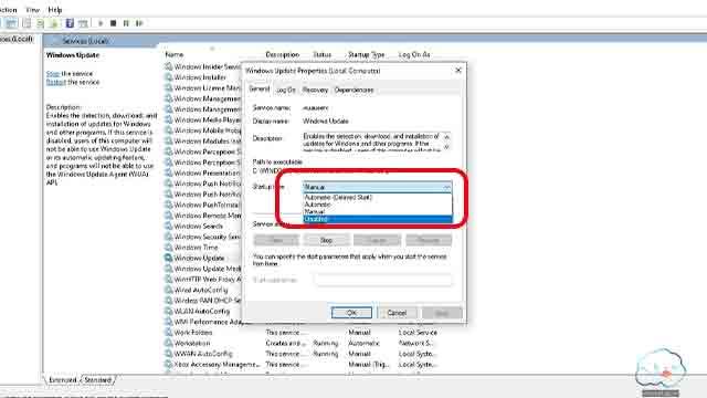 ايقاف تحديثات ويندوز 10 من الخدمات