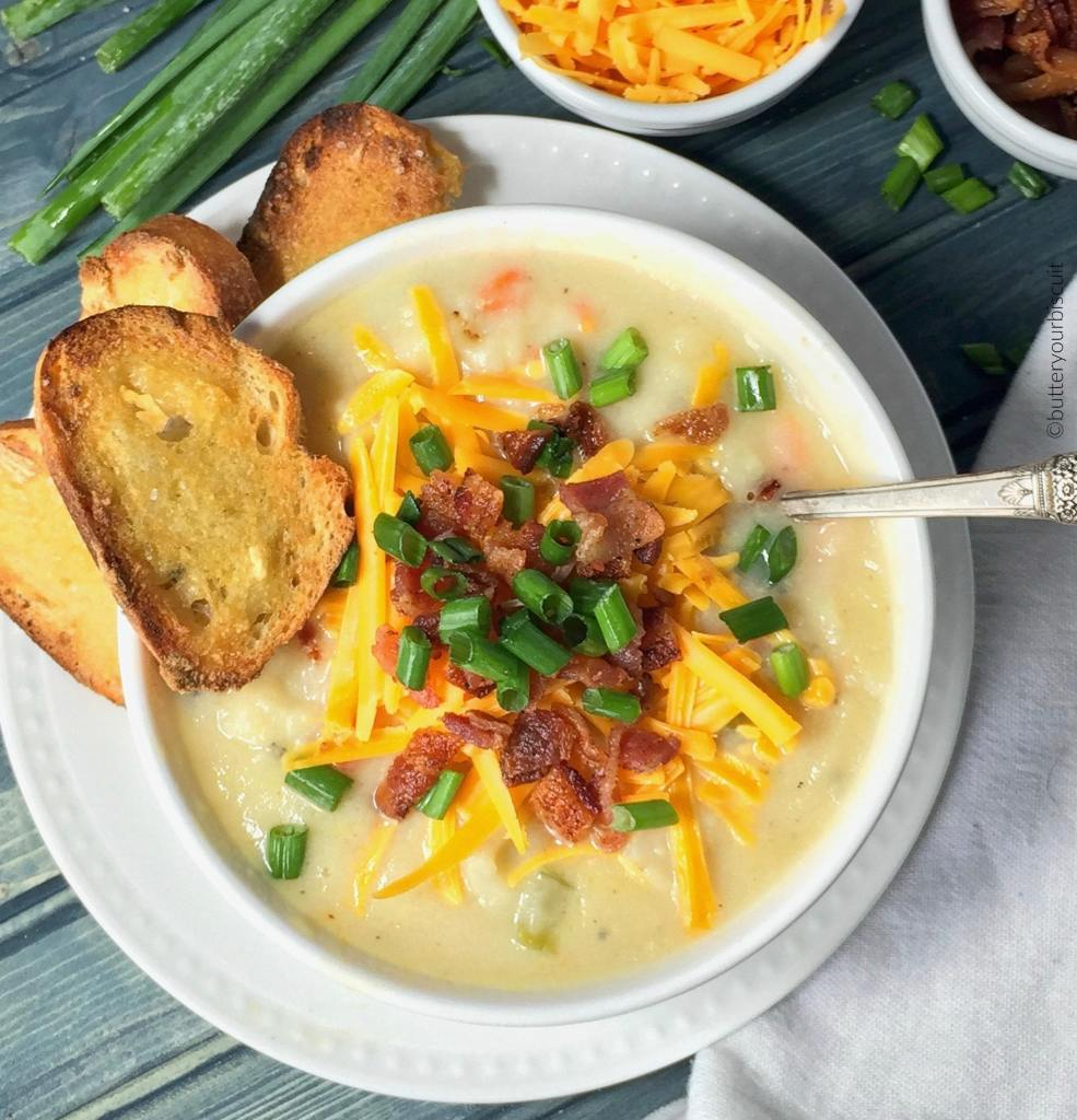 This Loaded Potato Soup is super creamy and loaded with all the favorites! Comfort food at it best!