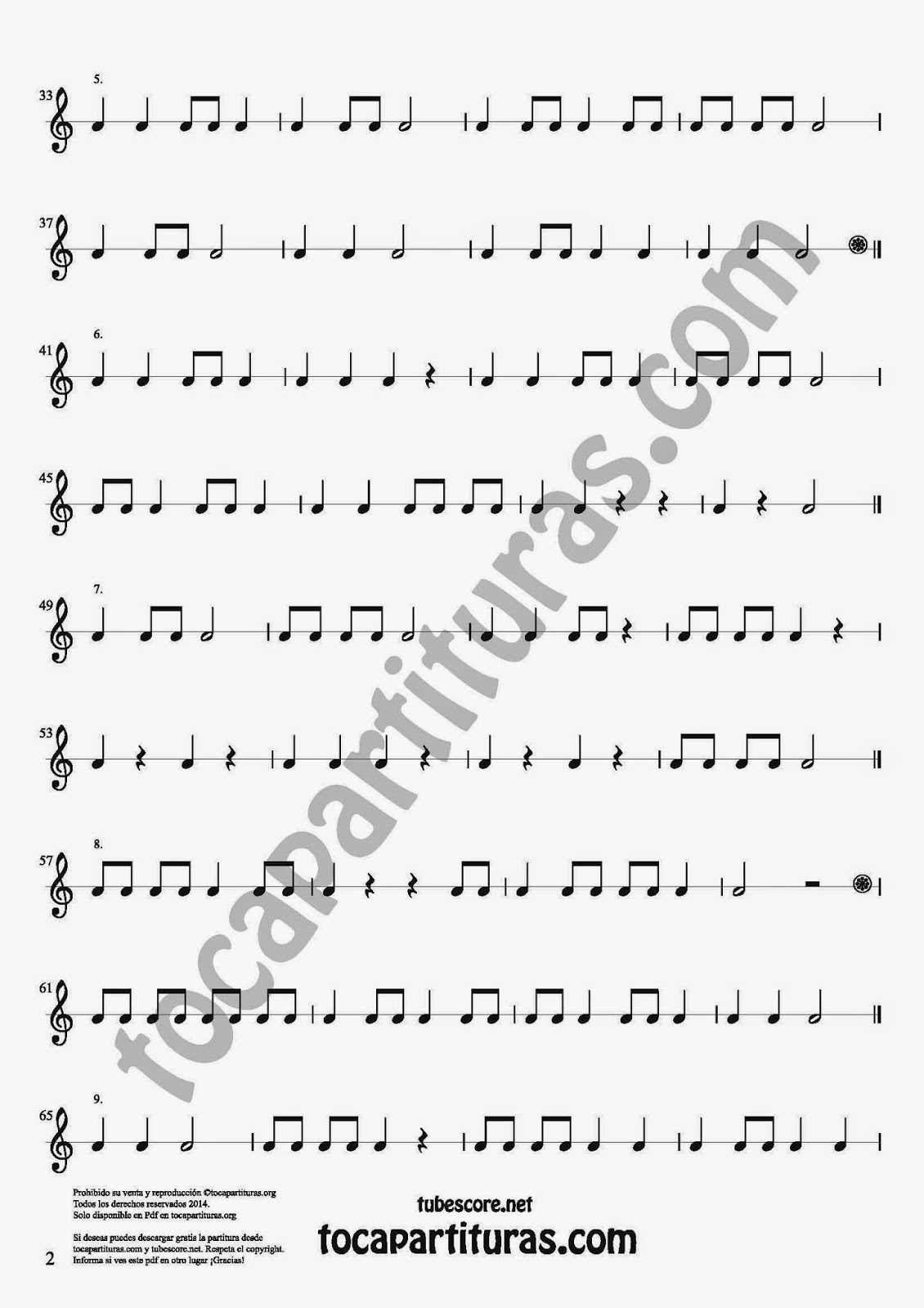 2 Parte 35 Ejercicios Rítmicos para Aprender Solfeo Negras, corcheas, blancas y sus Silencios Compás 4x4 cuatro tiempos Sheet Music for quarter notes, half notes, 1/8 notes and silences