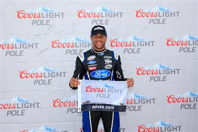 Darrell Wallace Jr., driver of the #6 Ford EcoBoost Ford, poses with the Coors Light Pole Award after qualifying for the pole for the NASCAR XFINITY Series Buckle Up 200 presented by Click It or Ticket at Dover International Speedway on May 30, 2015 in Dover, Delaware.