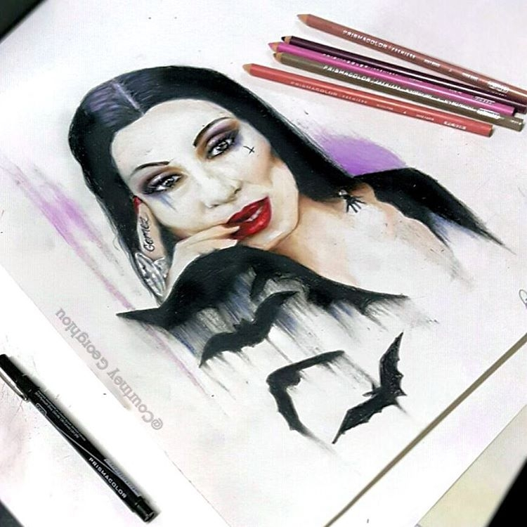 01-Morticia-Addams-Family-Courtney-Georghiou-Art-Drawn-and-Airbrushed-and-Painted-in-an-Eclectic-Mix-www-designstack-co