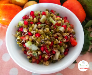 Moong Sprout Salad with Pomegranate Recipe