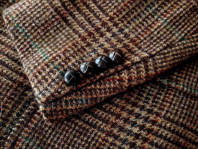 Ralph Lauren Glen Check Tweed jacket sleeve button view