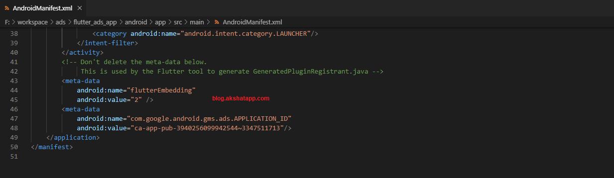 Adding meta-data to AndroidManifest.xml