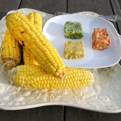 Grilled Corn with Three Flavored Butters
