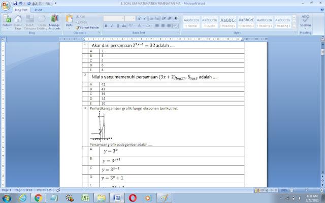 Contoh Soal Ujian Madrasah (UM) Matematika Peminatan MA