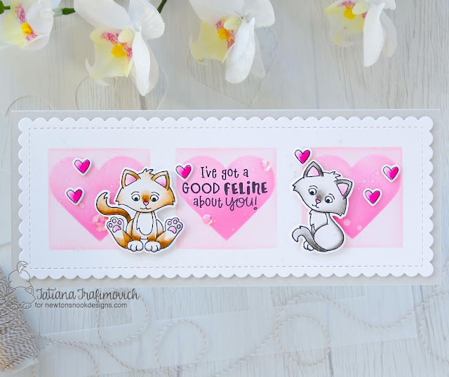 Kitten Slimline card by Tatiana Trafimovich | Smitten Kittens Stamp set, Slimline Frames & Portholes Die Set, and Slimline Masking Hearts Stencil Set by Newton's Nook Design