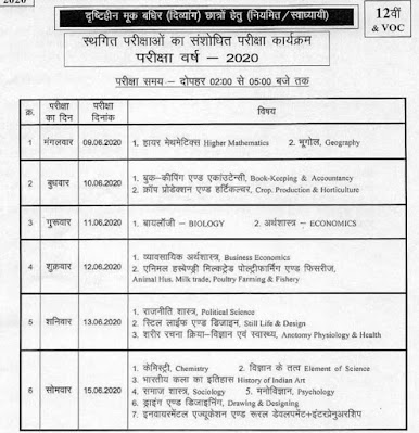 MPBSE 12th Class Exam Time Table 2020 Deaf and Dumb