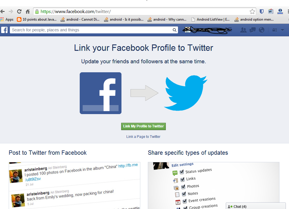 Connect facebook page and profile to twitter