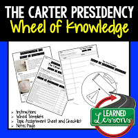 President Carter, Progressive Era, American History Activity, American History Interactive Notebook, American History Wheel of Knowledge