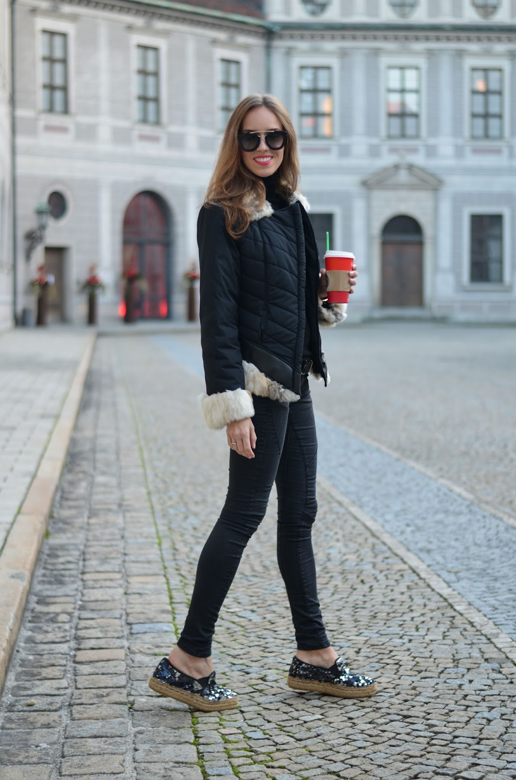 kristjaana mere rabbit fur jacket black jeans winter outfit