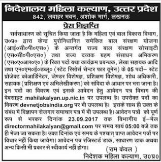 Mahila Kalyan UP Recruitment 2017, Junior Assistant, Manager