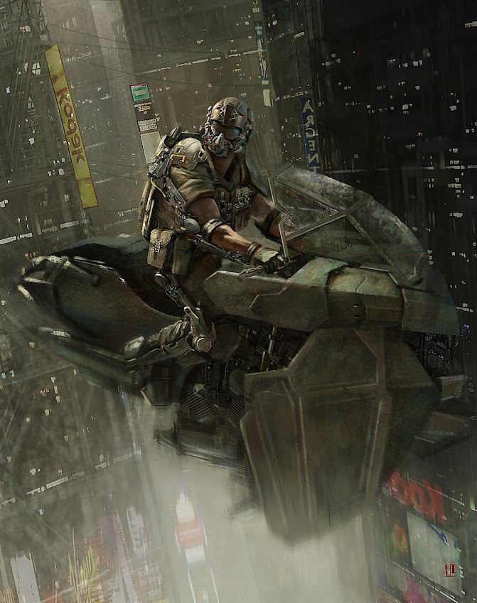 Cyberpunk Warrior Hover Bike Rider by Gongjin Wang