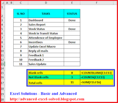 How to use COUNTBLANK & COUNTA function to count Blank and Not Blank cells in Excel
