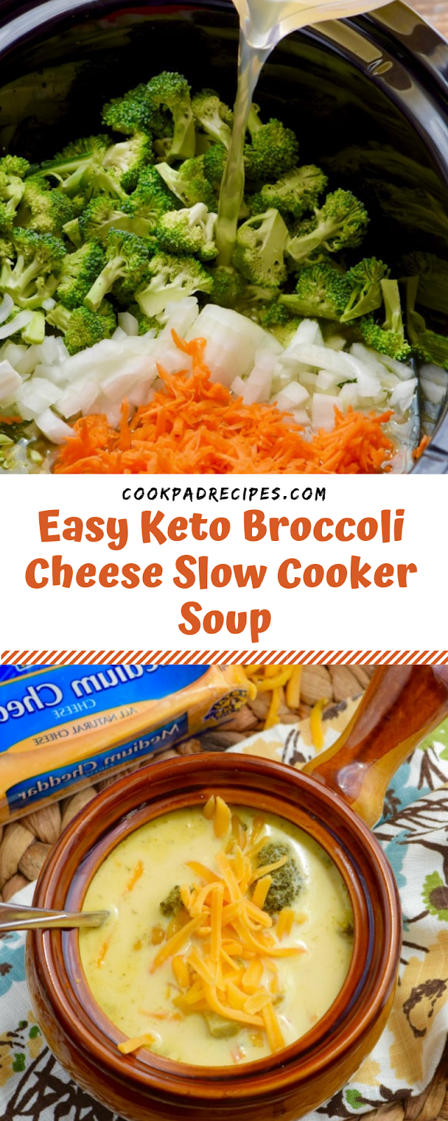 Easy Keto Broccoli Cheese Slow Cooker Soup!