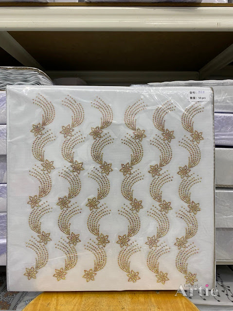 Sticker hotfix rhinestone DMC 6 jalur aplikasi tudung, bawal & fabrik pakaian motif bunga ekor merak warna emas