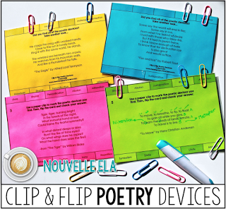 These task cards are a great way to help students practice identifying poetic devices and figurative language. Students simply clip the devices they find in the excerpt and then flip the card to self-check. Read more at the Secondary English Coffee Shop blog.