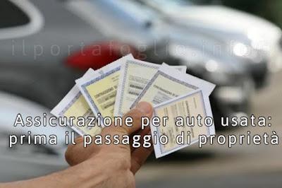 assicurazione auto usata e passaggio di proprietà