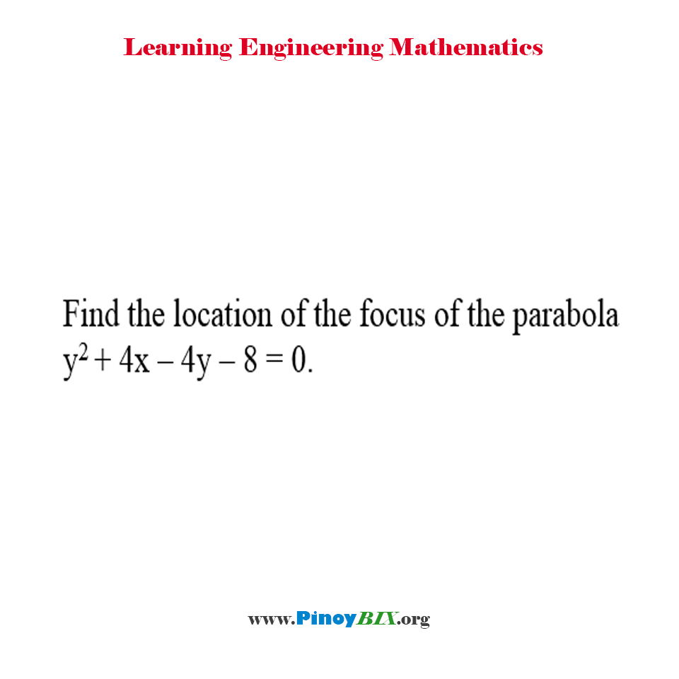 Find the location of the focus of the parabola y^2 + 4x – 4y – 8 = 0.