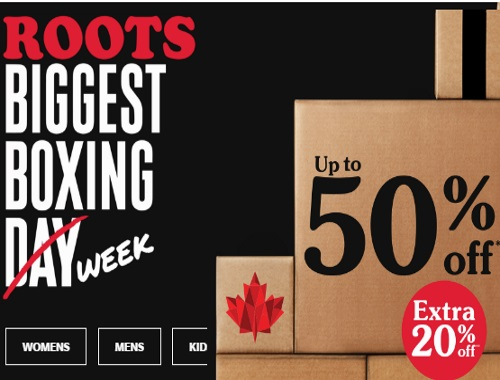 Roots Biggest Boxing Week Sale Up To 50% off + Extra 20% Off