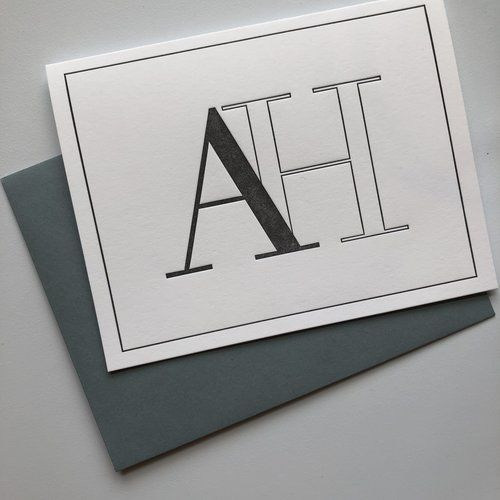 letterpress block letter monogram note cards