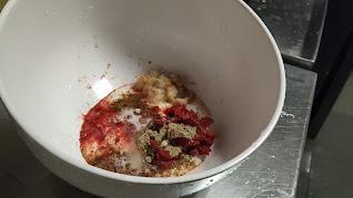 Cumin powder Garam masala Chat masala chilly powder Curd in mixing bowl food recipe