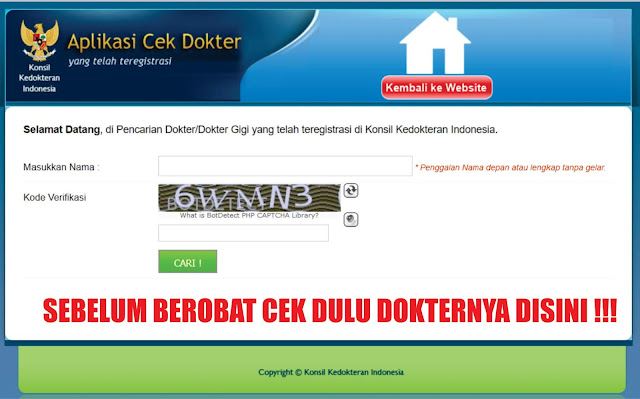 Aplikasi Cek Dokter, Sebelum Berobat Cek Dulu Dokternya Disini !!!