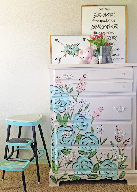 Dresser Makeover | Tones for Tots | Fusion Paint | Floral Dresser After