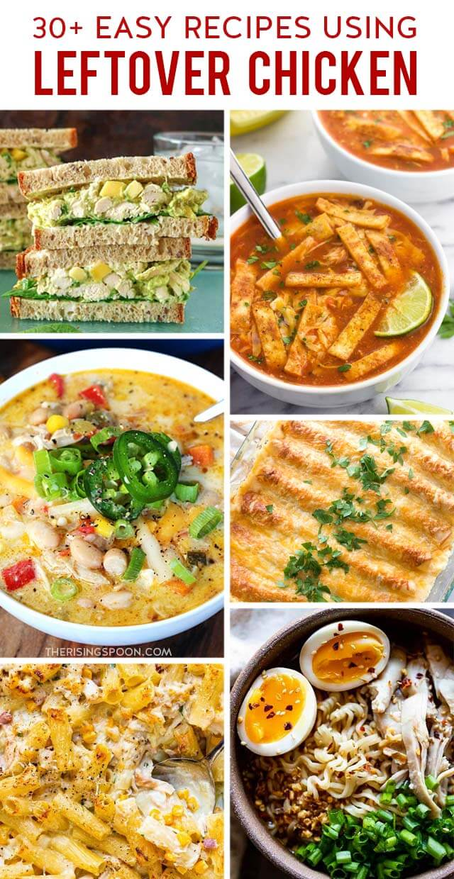 Wondering what to do with leftover cooked chicken? Here are 30+ easy recipes to inspire your next meal. Most are quick enough for weeknight dinners & use simple ingredients. And they work no matter the type of chicken you have (rotisserie, roasted, baked, boiled, pan-fried, grilled, etc.). Save this for when you need some new ideas!