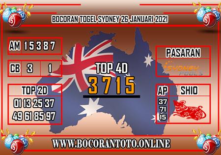Bocoran Toto Sydney Selasa 26 Januari 2021