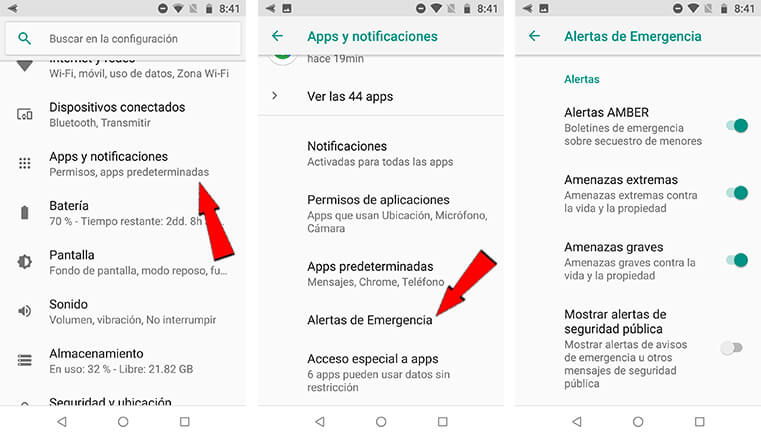 Alertas emergencia dispositivo Android